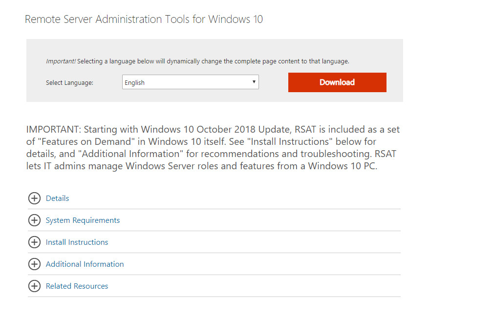 Active Directory Users and Computers for Windows 10 1809kombitz