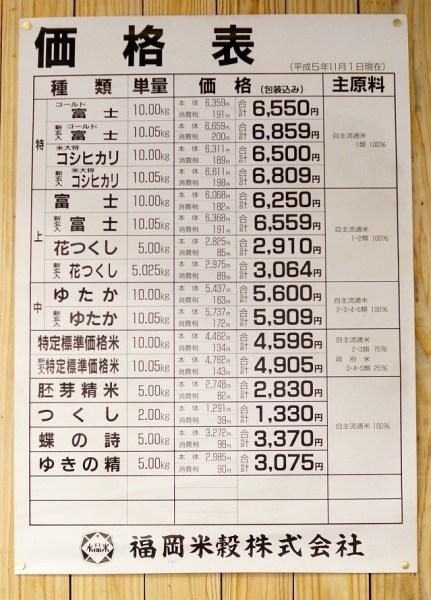 米の価格表 平成5年11月