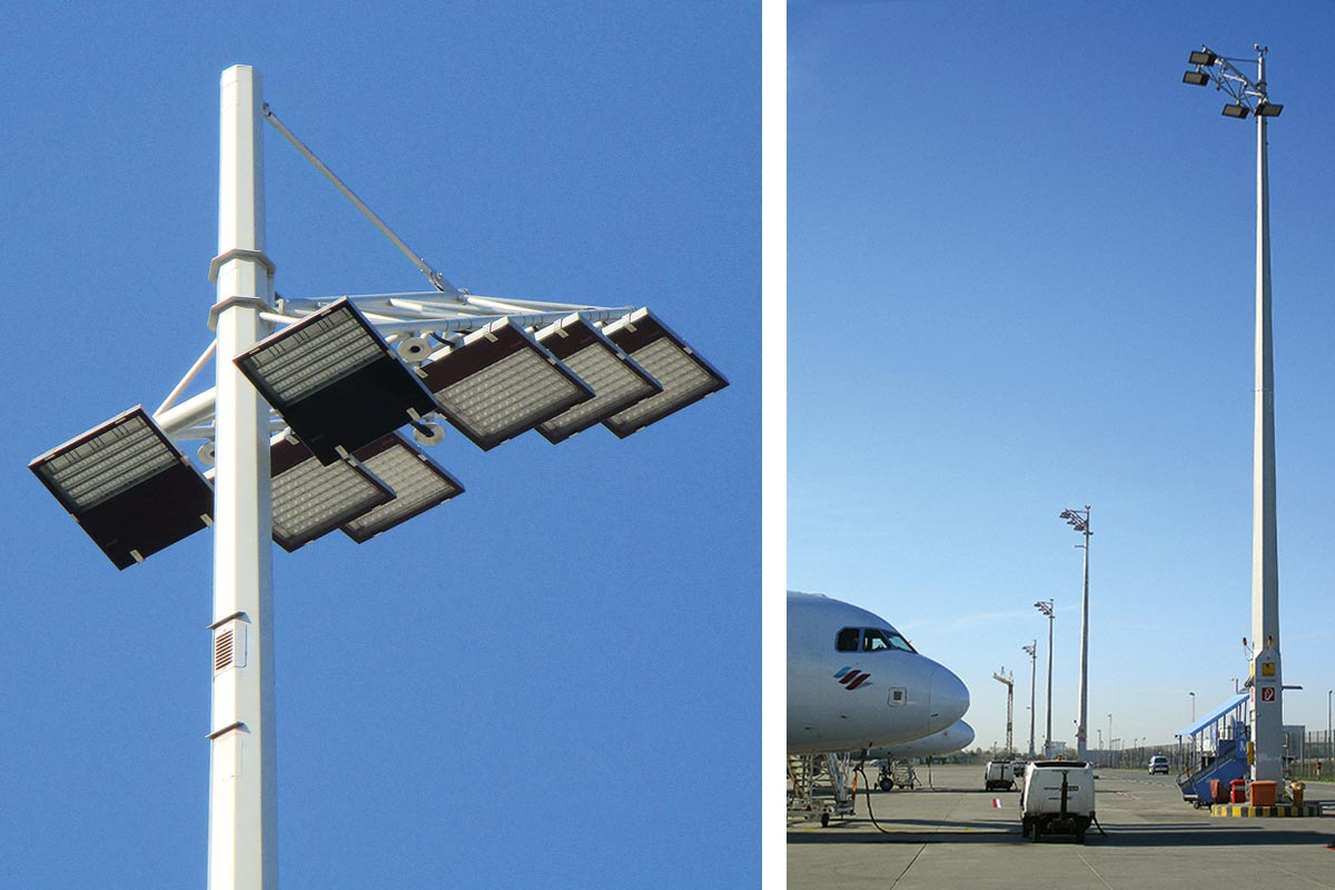 Umgerüsteter Mast auf dem Vorfeld West, Höhe 25m