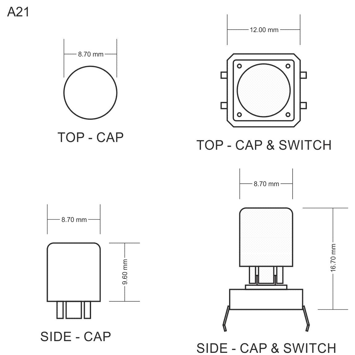 A21 Tactile Cap Amp Switch