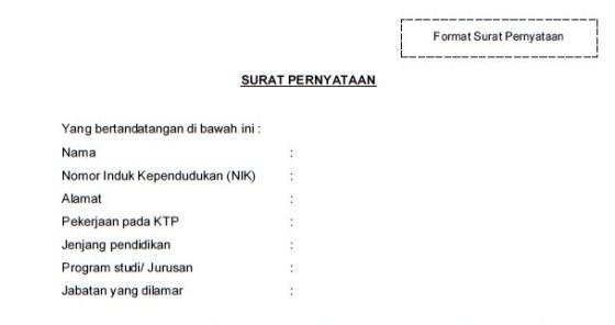 Contoh Format Surat Pernyataan 13 Poin CPNS Kemenkumham 2019