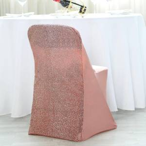 Stretch Spandex Folding Chair Cover with Metallic Glittering Back