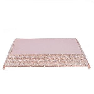 15″ Flat Crystal Beaded Metal Cake Stand