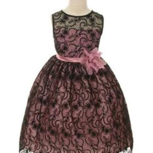 Black/Rose Satin Lining and Floral overlay Lace Dress