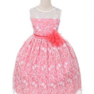 Coral Satin Lining and Floral overlay Lace Dress