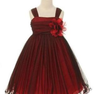 Black/Red Compelling Mesh and Taffeta Overlay Dress