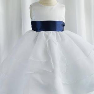 Girls White Multi Layered Organza Dress