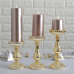 Set of 3 | Mercury Glass Pillar Candle Holders  – 7″ | 8″ | 10″