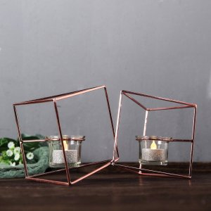 9″ Rose Gold Geometric Candle Holder Set