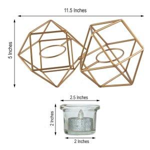 11″ Gold Geometric Candle Holder Set