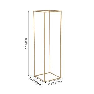 "2 Pack | 48"" Rectangular Gold Metal Wedding Flower Stand"