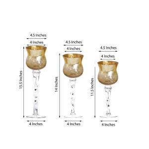Set of 3 | Hurricane Long Stem Gold Foil Glass Vases Candle Holder Set – 16″/14″/12″