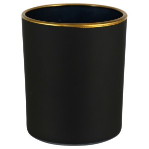 3.25×2.75 in. Frosted Candle holder with Gold Rim