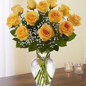 Dozen Long Stem Yellow Rose Bouquet