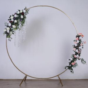 7 FT Tall – Gold Round Metal Wedding Arch