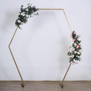 8 FT Tall | Gold Hexagonal Metal Wedding Arch