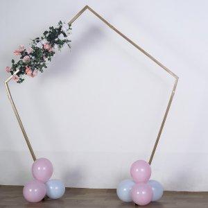 8 FT Tall | Gold Pentagonal Metal Wedding Arch