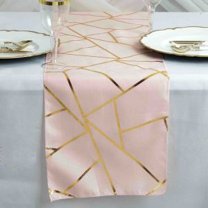 9 Ft Geometric Table Runner With Gold Foil Patterns