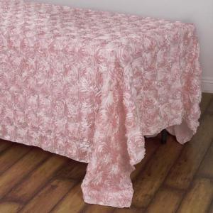 90″ x 132″ Grandiose Rosette 3D Satin Rectangle Tablecloth