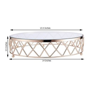 14″ Gold Round Metal Geometric Cake Stand With Glass Top