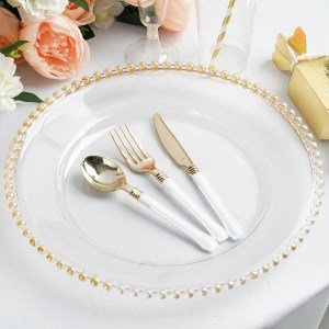 12″ Clear Acrylic Round Charger Plates With Gold Beaded Rim