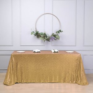 90″x156″ Gold Premium Sequin Rectangle Tablecloth