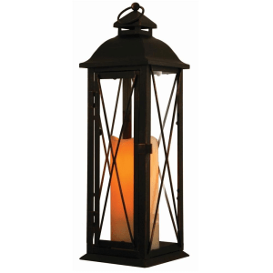 16″ LED Candle Outdoor Lantern – Antique Brown