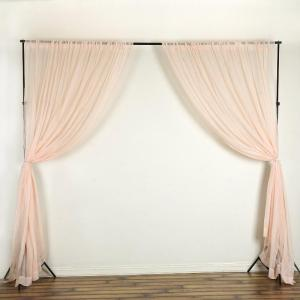 10FTx10FT Sheer Organza Premium Curtain Panel Backdrops With Rod Pockets