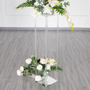 40″ Clear Acrylic Flower Stand With Mirror Base