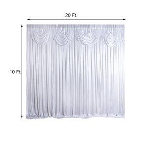 20FT x 10FT White Classic Double Drape Backdrop