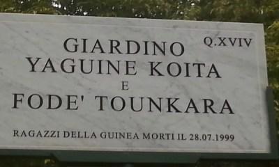 Un jardin dédié à Yaguine Koita et Fodé Tounkara à Cinecittà Lamaro . Source: justinmorel.info