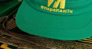 Les progrès de la Tanzanie ne pouvaient pas se faire assez vite, lorsque le président John Magufuli a pris le pouvoir en 2015. « Hapa Kazi Tu » (en français : « Ici, on travaille sans relâche ») le slogan du regretté Magufuli, vu sur une casquette verte et jaune aux couleurs du CCM, le parti de M. Magufuli, qui est actuellement au pouvoir. Photo de Pernille Baerendtsen, utilisée avec permission.