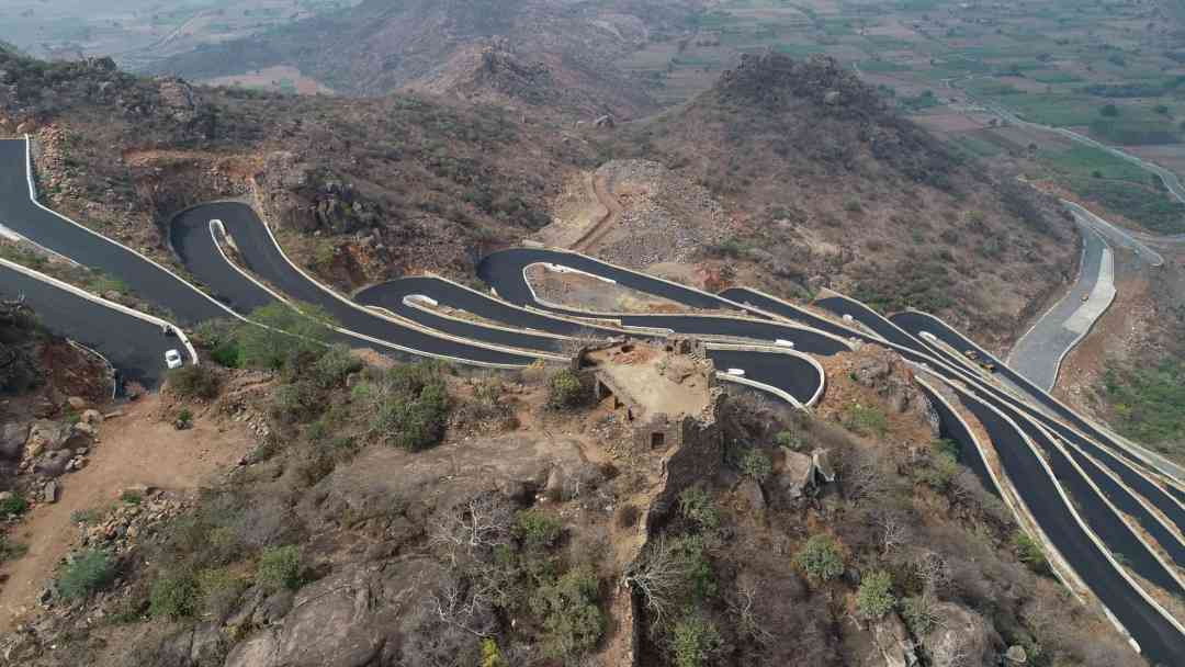 Birds Eye view of Kondaveedu ghat road