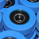blue escalator roller