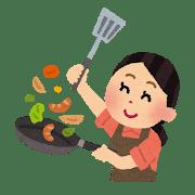 料理するお母さん