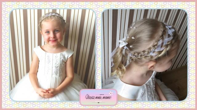 Fryzura dla dziewczynki na komunię — dwa warkocze holenderskie przewlekane wstążką Image