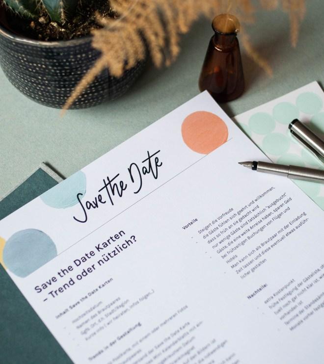 Infoblatt über Save the Date Karten zur Hochzeitsplanung