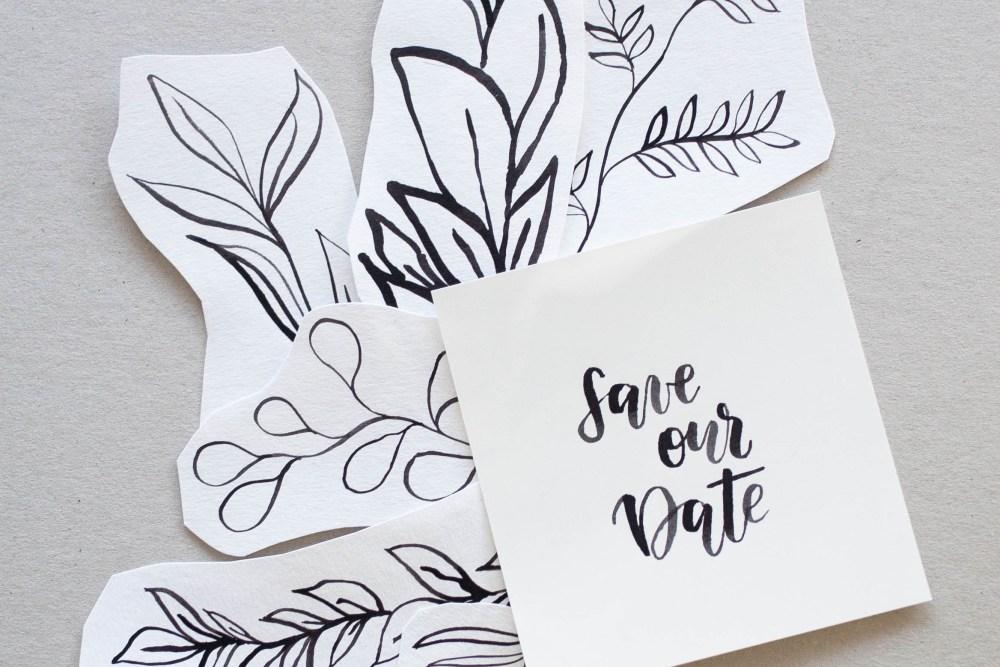 Save the Date Karten mit floralen Elementen