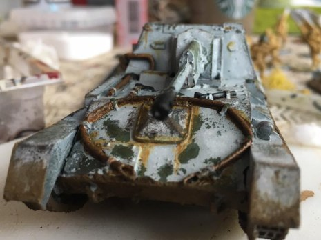 The front of the SU-76 showing Rust Streaks and Mud