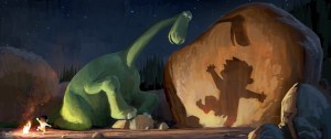 """Arlo, a 70-foot-tall teenage Apatosaurus, befriends a young human boy named Spot in Disney•Pixar's """"The Good Dinosaur""""—in theaters May 30, 2014. ©2013 Disney•Pixar.  All Rights Reserved."""