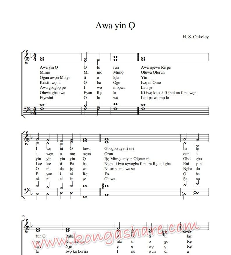 awa yin o olorun sheet music_kongashare.com_mn