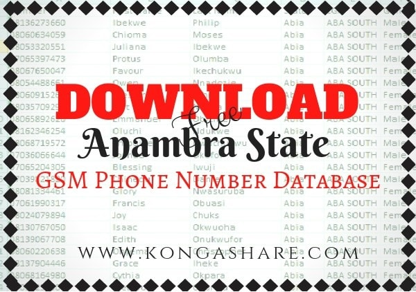 Download Free Anambra State GSM Phone Number Database