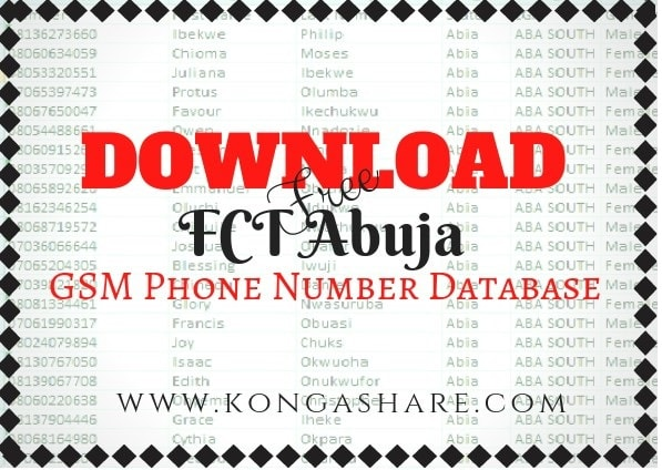 Download Free FCT Abuja GSM Phone Number Database