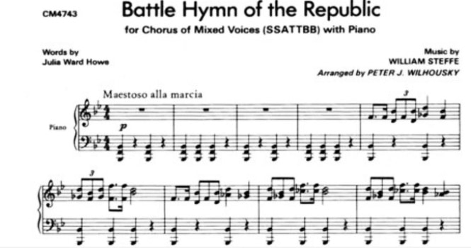 Battle Hymn of the Republic sheet music (Score, Video) by William Steffe