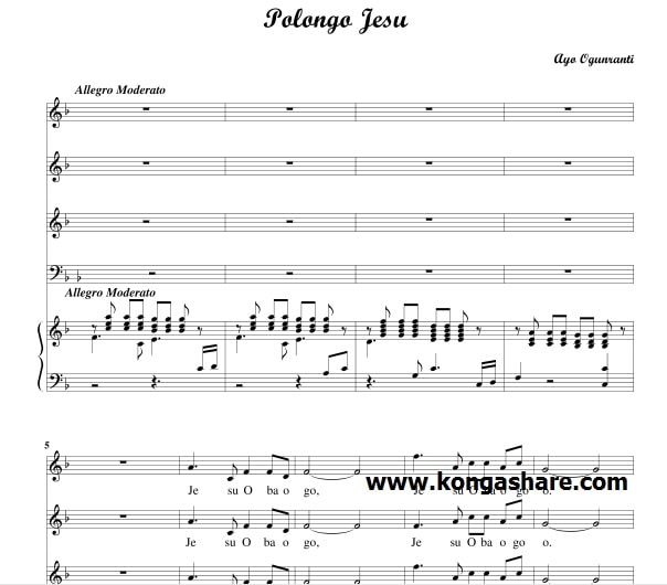 Download Polongo Jesu Sheet Music - Yoruba music sheet