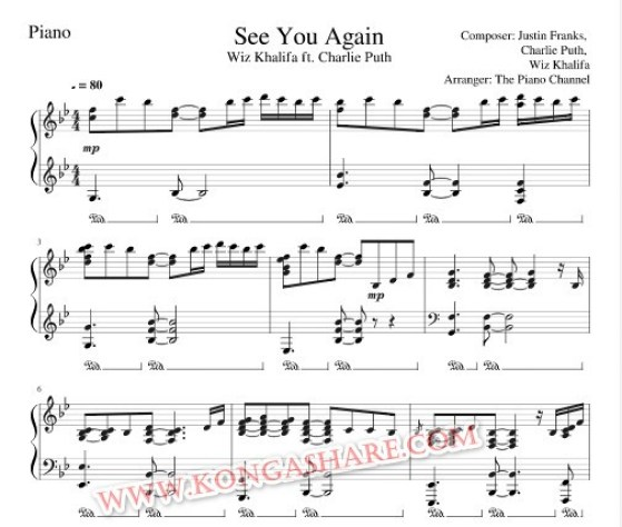 See You Again Piano sheet music
