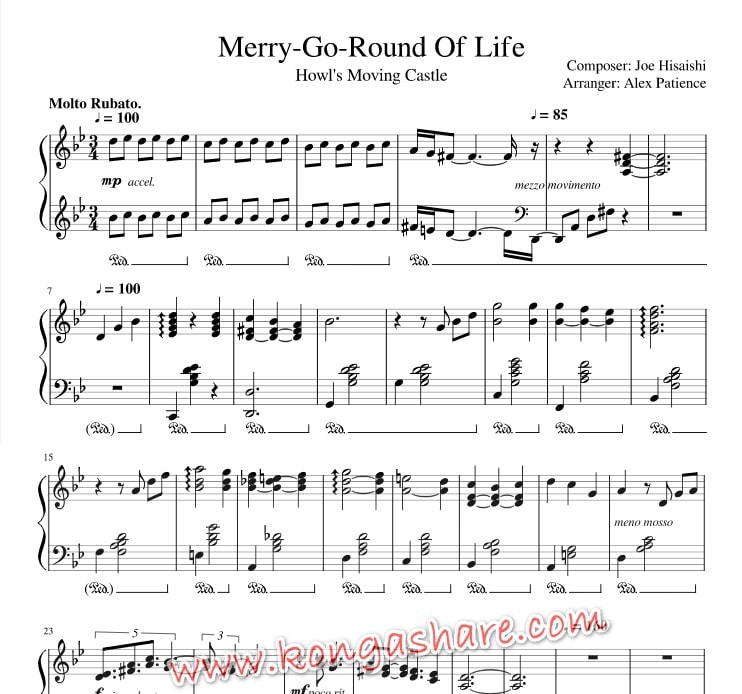 Download Merry Go Round of Life - howl's moving castle sheet music in Pdf and MP3_kongashare.com_mn-min