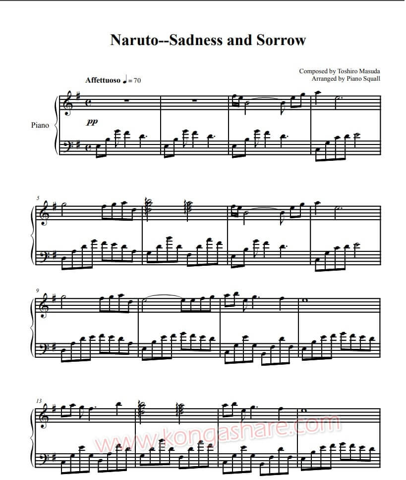 sadness and sorrow piano sheet music - naruto_kongashare.com_mm