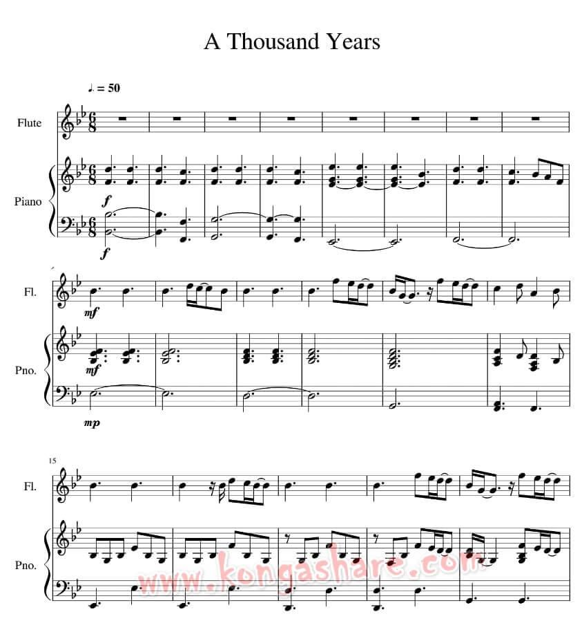 A Thousand Years Piano sheet music by Christina Perri_kongashare.com_mmh