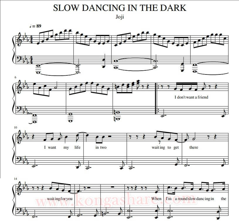 slow dancing in the dark lyrics with sheet music_kongashare.com_mmn